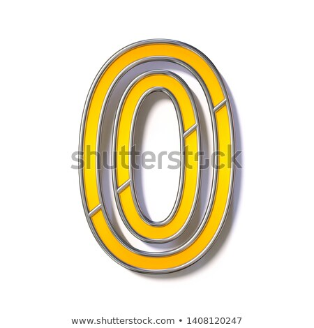 Orange metal wire font Number 0 ZERO 3D Stock photo © djmilic