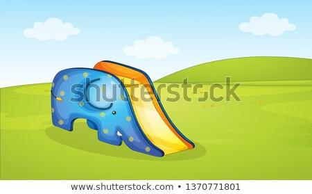 Cute elefante slide parco scena illustrazione Foto d'archivio © colematt