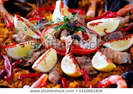 Close up image ripe ingredients of prepared served paella spanis Stock photo © amok