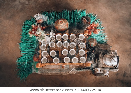 cup of Ethiopian coffee with aromatic frankincense Stock photo © artush