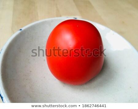 Taze organik kiraz domates seramik çanak Stok fotoğraf © marylooo