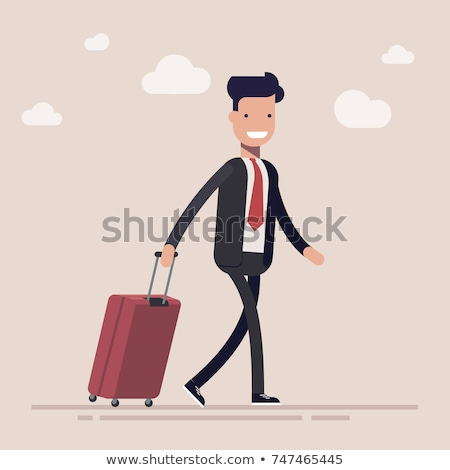 man with suitcase running to passenger plane stock photo © robuart