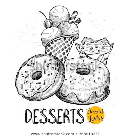 Donuts hand drawn doodles illustration. Sweets poster design. Stock photo © balabolka