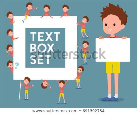 flat type Red clothing short hair boy_text box Stock photo © toyotoyo