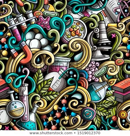 cartoon cute doodles hand drawn science seamless pattern stock photo © balabolka