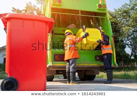 Dois coleção trabalhadores lixo desperdiçar caminhão Foto stock © Kzenon