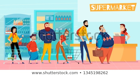 shopping mall line of people waiting for sale stock photo © robuart