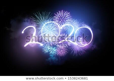 Foto stock: Brilhante · néon · fogos · de · artifício · exibir · aniversário · fundo