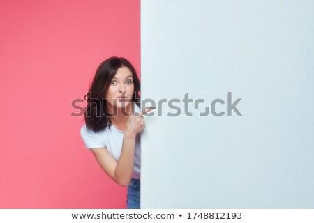興奮した ビジネスパーソン ポインティング 指 スペース 文字 ストックフォト © lichtmeister