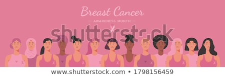 Breast Cancer awareness banner happy young girl Stock photo © cienpies