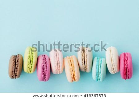 Stock fotó: Torta · macaron · édesség · fából · készült · háttér · felső