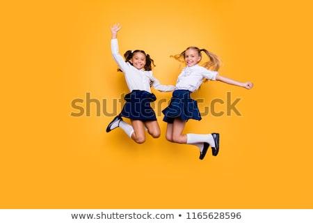 Mädchen glücklich Schuluniform Illustration Mädchen Lächeln Schule Stock foto © bluering