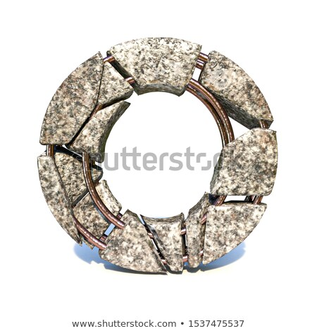 concrete fracture font letter o 3d stock photo © djmilic