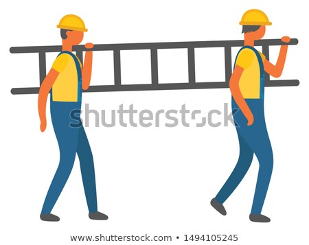 Stock photo: Workers Carrying Ladder on Shoulder Workmen Vector