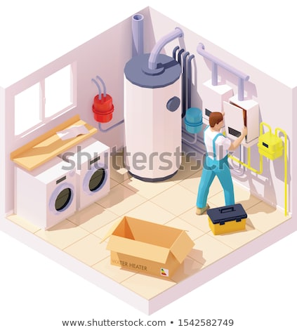 Vector isometric technician on water heater or boiler installation Stock photo © tele52