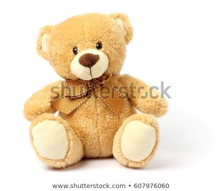Töltött játékok medvék izolált fehér piros Stock fotó © ivonnewierink