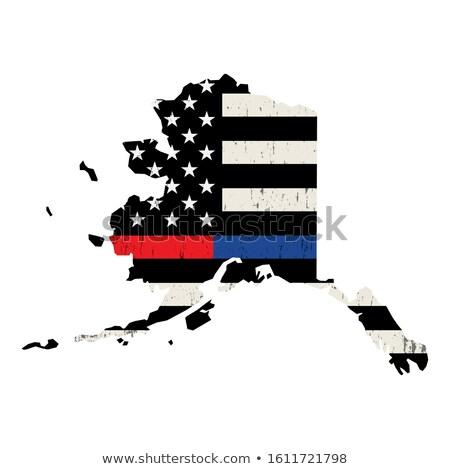Alaska strażak wsparcia banderą ilustracja amerykańską flagę Zdjęcia stock © enterlinedesign