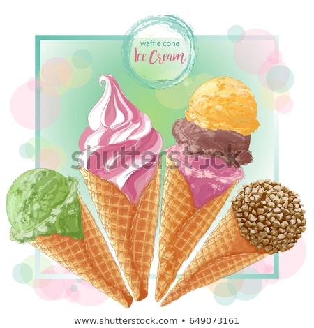 Eis bedeckt Schokolade Nüsse Plakat Vektor Stock foto © pikepicture