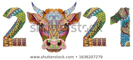 Zentangle stylized bull number 2021. Hand Drawn lace vector illustration Stock photo © Natalia_1947