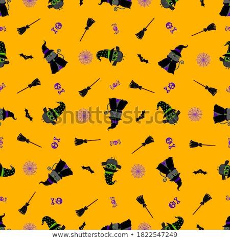 Cute vector seamless pattern with kawaii Halloween owls Stock photo © Pravokrugulnik