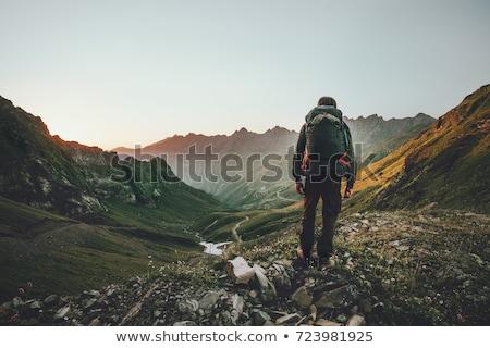 Adam yürüyüş dağ mavi gökyüzü gökyüzü orman Stok fotoğraf © pedromonteiro