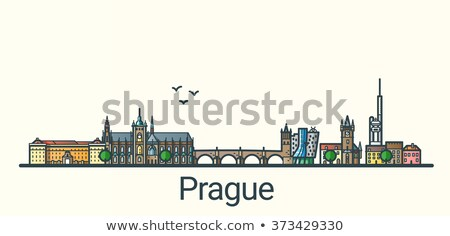 Praag skyline grijs blauwe hemel exemplaar ruimte business Stockfoto © ShustrikS