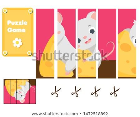 Rajz sajt puzzle gyufa darabok teljes Stock fotó © natali_brill