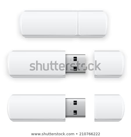 Flash drive czarny uniwersalny odizolowany biały metal Zdjęcia stock © romvo