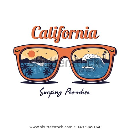 sunglasses with sea sunset vector stock photo © beaubelle