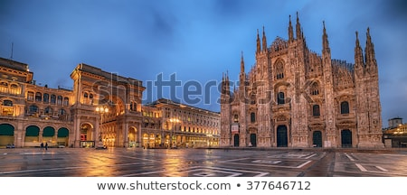 Milan Cathedral and monument to king Vittorio Emanuele II Stock photo © aladin66