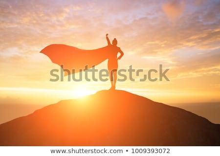hero on mountain top Stock photo © prill