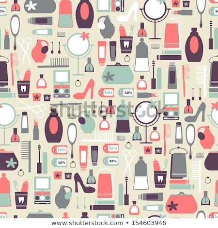 Fashion illustration. Background with fashionable shoes, flowers Stock photo © lapesnape