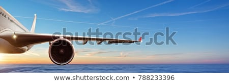 Flying plane wing and motor Stock photo © Elenarts