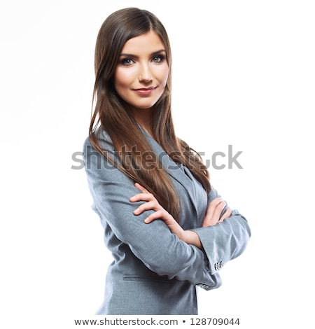 Face of beautiful woman on the background of business people stock photo © HASLOO