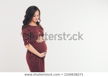 Foto d'archivio: Immagine · donna · incinta · toccare · pancia · mani · indossare