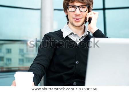 Stok fotoğraf: Dostça · yürütme · oturma · dizüstü · bilgisayar · ofis · büyük