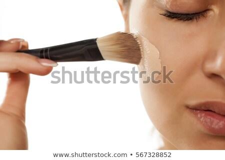 Foto stock: Retrato · bela · mulher · pincéis · de · maquiagem · cara · olhando
