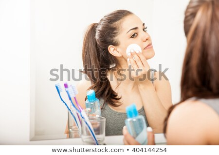 portrait · jeune · femme · coton · femme · main · beauté - photo stock © hasloo