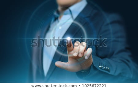 homme · d'affaires · écran · tactile · bouton · sombre · affaires - photo stock © hasloo