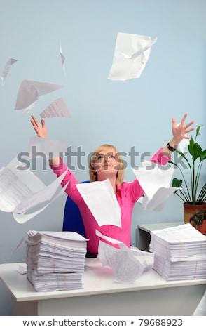 Kız beyaz kâğıt ofis Stok fotoğraf © pekour