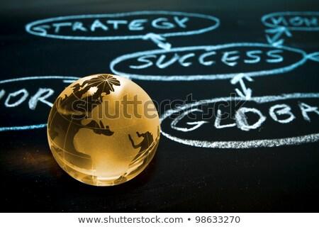 Flowchart on a chalk board. World globe. Stock photo © REDPIXEL