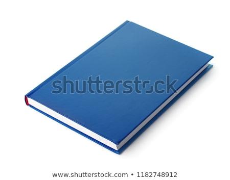 Niebieski książki twarda oprawa biały szkoły pióro Zdjęcia stock © devon
