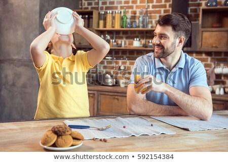Fiú iszik tál kéz szem férfi Stock fotó © photography33