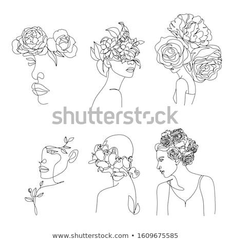 cara · da · mulher · floral · mulher · flor · cara - foto stock © ojal