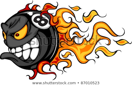 Billiards Eight Ball Flaming Face Vector Image Stock photo © chromaco