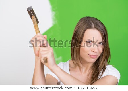Young handyman raising hammer in the air Stock photo © photography33