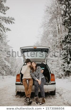 Pareja sesión bosques verde invierno diversión Foto stock © photography33