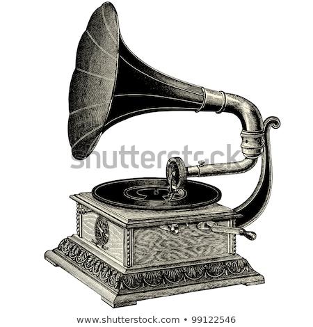 gramofon · zene · hang · lemez · clip · art · fogantyú - stock fotó © igorij
