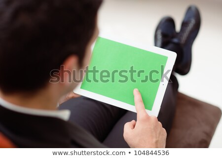 Businessman using computer with green screen for web and e-mail Stock photo © diego_cervo