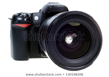 Professional camera with telephoto lens and flash Stock photo © Arsgera